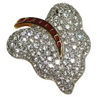 Pave Rhinestone Enamel Leaf Contemporary Pin