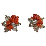 Rhinestone Vendome Glass Coral Crystal Earrings