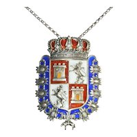 Coat of Arms Necklace Enamel Crown Shield Pendant