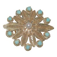 14K Persian Turquoise and Pearl Filigree Pin Pendant