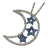 Rhinestone Celestial Crescent Moon & Star Necklace by Joan Rivers