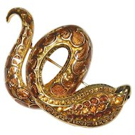 Enamel Snake Serpent Pin Joan Rivers Designer Brooch