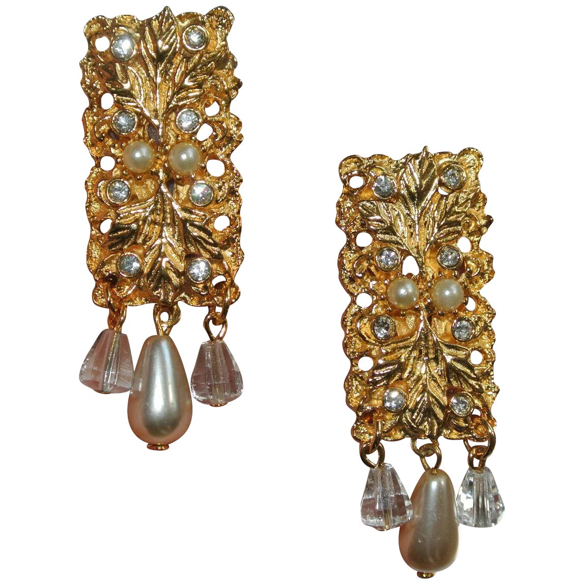 Tuscany Collection Clip Earrings With Leaves Rhinestones
