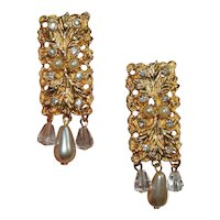 Tuscany Collection Earrings with Leaves, Rhinestones & Drop Pearls