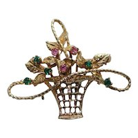 Gold Basket 14 Karat Gemstone Pin