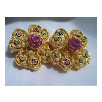 """Craft"" Vintage Designer Flower Earrings with Rhinestone and Enamel"