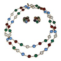 Signed Swarovski Crystal Set - Necklace & Earrings Red Blue Green Clear
