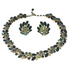 Trifari Emerald Green Rhinestone Necklace and Earring Set