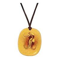 1960's Enamel Copper Pendant Leather Necklace