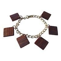 Square Wood Mid Century Geometric Charm Bracelet