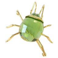 Swarovski Green Bug Insect Sterling Silver Pin