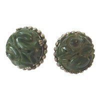Green Bakelite Carved Dark Swirl Apple Vintage Earrings