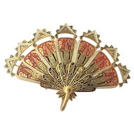 Spain Enamel Retractable Fan Brooch Pin Pendant