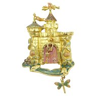 Rapunzel Fairy Tale Castle with Enamel and Sparkle Flowers & Dragonfly by Kirks Folly