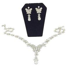 Designer Butterfly Flower Rhinestone Necklace & Earring Nolan Miller Set
