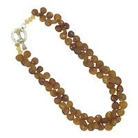 Carnelian & Citrine Faceted Gemstone Sterling Artisan Necklace