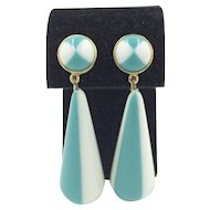 Trifari Blue & White Gold Tone Teardrop Dangle Earrings