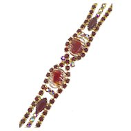 Juliana Bracelet with Ruby Red Aurora Borealis Rhinestones