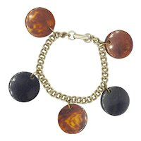 Mid Century Mod Brown Charm Bracelet