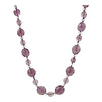 Purple Crystal Beaded Necklace with Sterling Silver Filigree Clasp