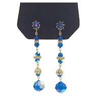 Blue and Gold Rhinestone Long Earrings with Crystal Rondelles