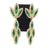 Green & White Long Dangle Rhinestone Earrings