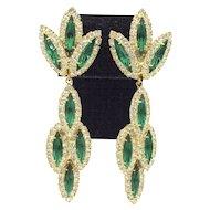 Green & White Long Dangle Rhinestone Earrings