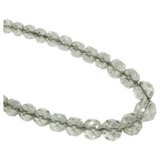 Art Deco Faceted Crystal Graduated Bead Necklace