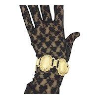 Judy Lee Large Pearlescent Glass Cabochon Gold Tone Link Bracelet
