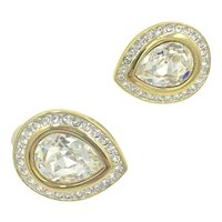 Swarovski Tear Drop Crystal Rhinestone Clip Earrings
