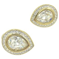Swarovski Tear Drop Crystal Rhinestone Clip Earrings