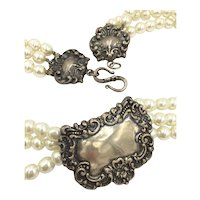 Sterling Silver Faux Pearl Multi Strand Designer Necklace