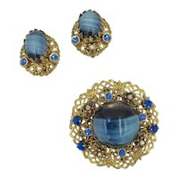 1950's Filigree Blue Glass, Faux Pearl, Rhinestone Earring & Pin Set West Germany
