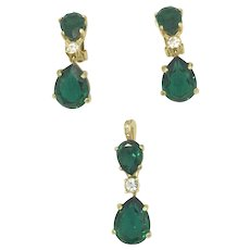 Christian Dior Emerald Green Earring Pendant Set