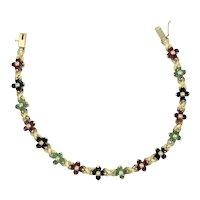 14 K Flower Bracelet with Sapphire, Emerald, Ruby