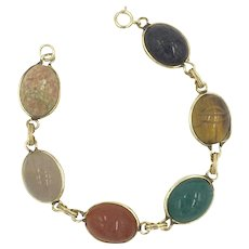 14 K Scarab Egyptian Bracelet with Gemstones