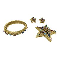 ART Star Rhinestone Bracelet Earring Pin Set