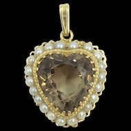 14 K Smokey Topaz with Pearls Heart Pendant