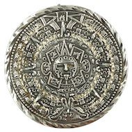 Mayan Calendar Sterling Silver Pin Pendant Maya Brooch