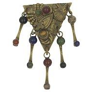 Sorrelli Semi Precious Gemstone Brass Designer Pin Brooch