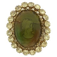 Warner Glass Cameo Rhinestone Pin Brooch