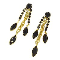 Hobe Black & Gold Rhinestone Designer Earrings