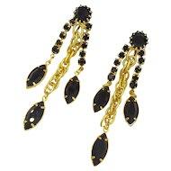 Hobe Black & Gold Rhinestone Designer Earrings