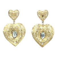 14K Aquamarine Gold Filigree Heart Earrings