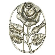 Danecraft Sterling Rose Pin Brooch