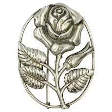 Danecraft Sterling Rose Pin Brooch