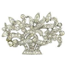 French Paste Flower Basket Rhodium Plated Pin Brooch