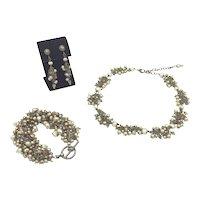 Smoky Topaz, Pearl & Sterling Necklace, Bracelet, Earring Set
