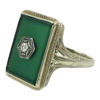 Chrysoprase Diamond 14K Gold Filigree Ring