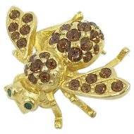 Bumble Bee Crystal Rhinestone Joan Rivers Designer Pin Brooch